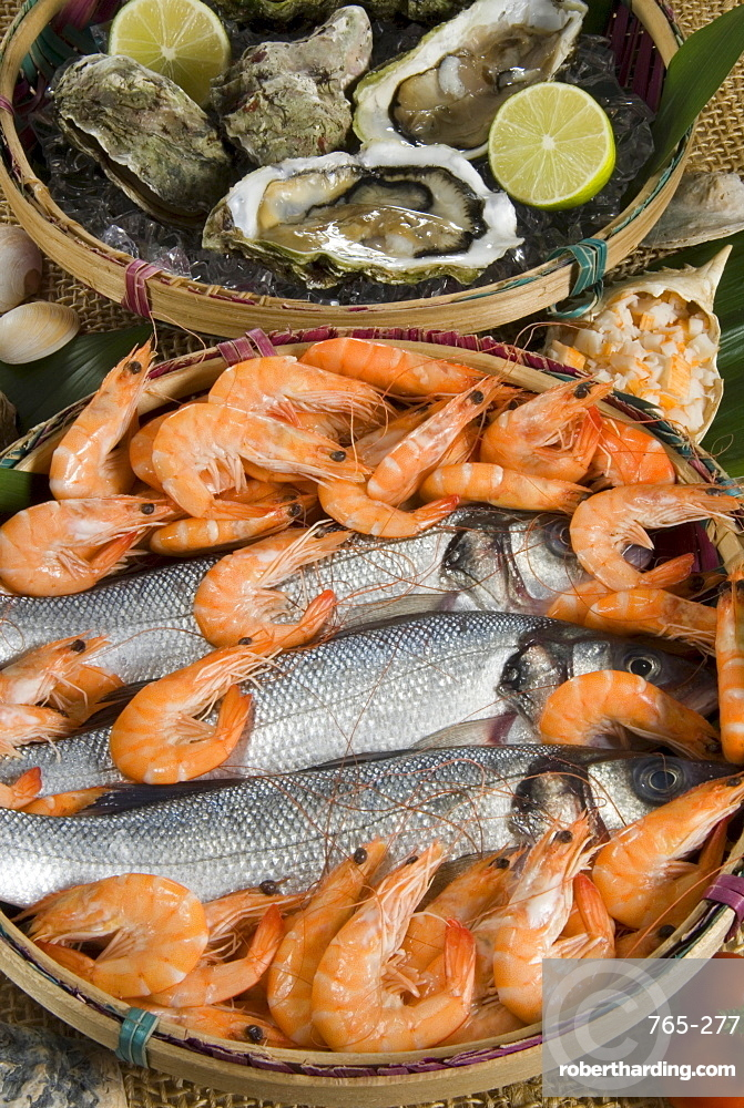 Prawns, oysters and sea bass
