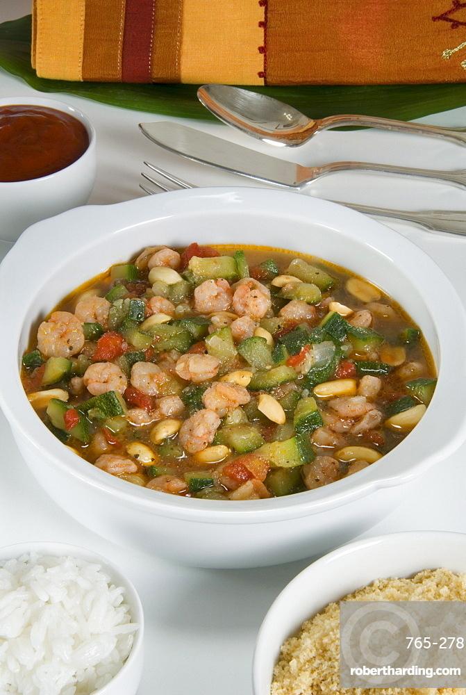 Brazilian food, caruru de camarao (vegetable soup with shrimps), Brazil, South America