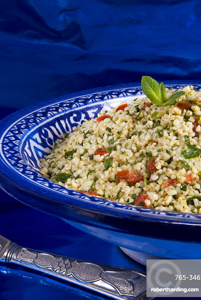 Arabic food, tabuleh, burghul with mint, tomatoes, lemon, parsley, olive oil, Middle East