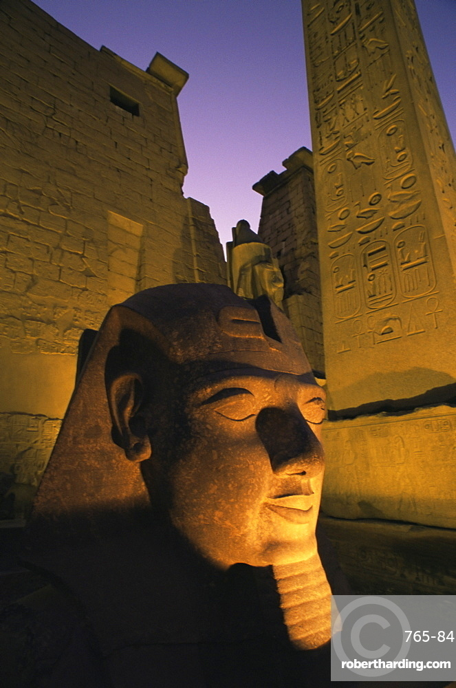 Statue of the pharaoh Ramses II at entrance to the Temple of Luxor, Thebes, UNESCO World Heritage Site, Egypt, North Africa, Africa