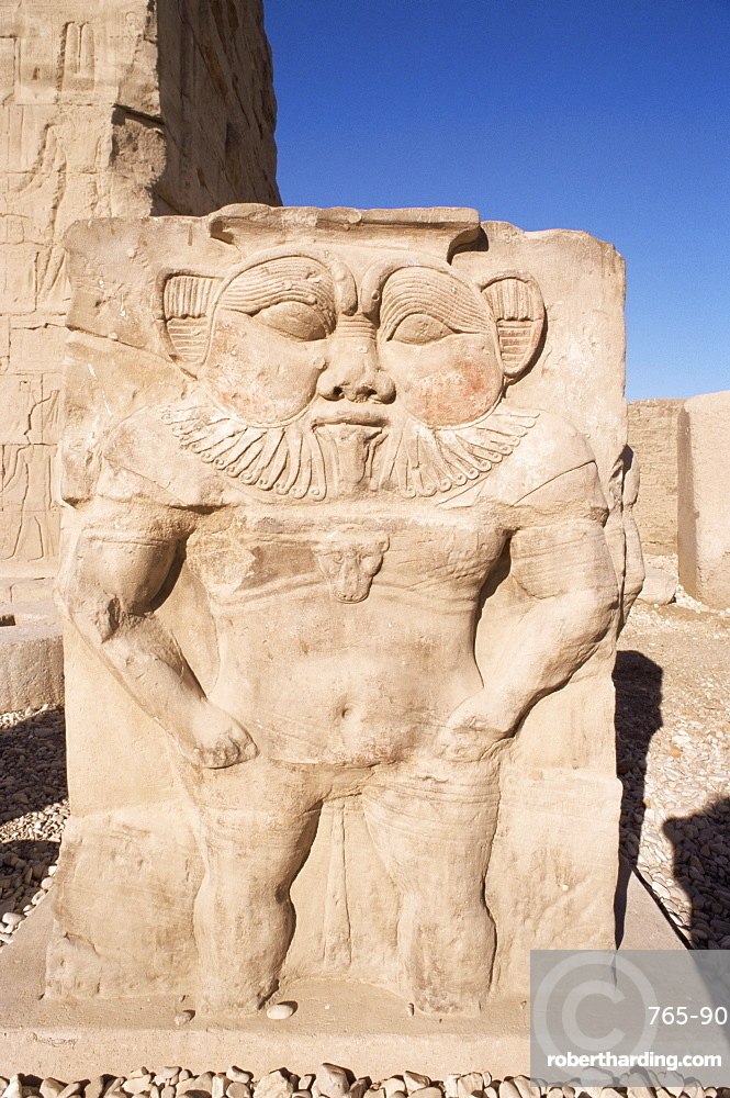 Statue of the ancient Egyptian god Bes, Temple at Dendera, Egypt, North Africa, Africa