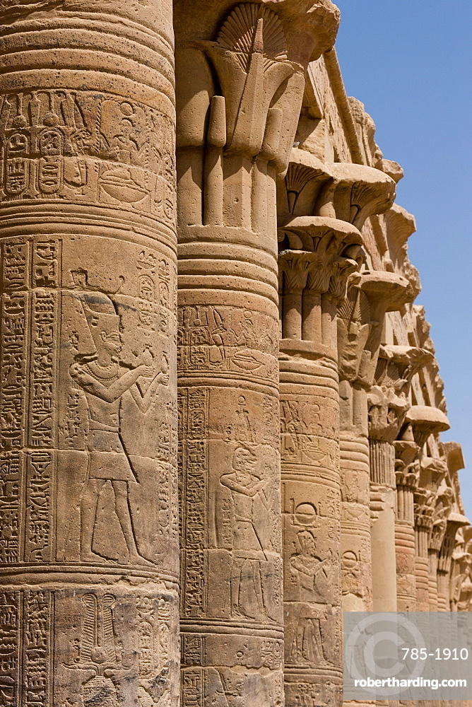 Columns in the ancient Egyptian Philae Temple, UNESCO World Heritage Site, Aswan, Egypt, North Africa, Africa