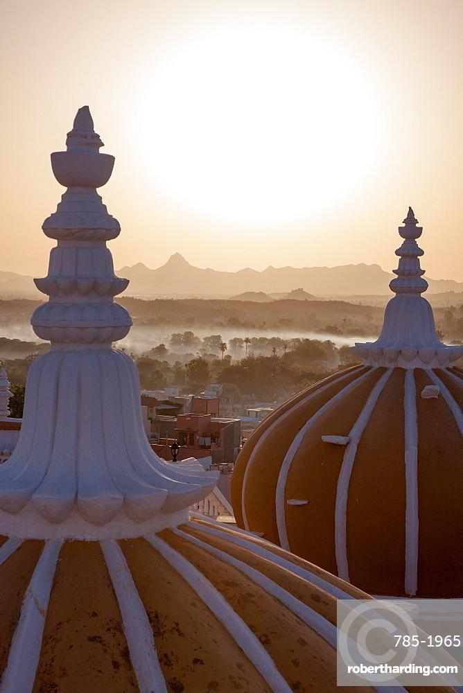 Domes of Deogarh Mahal Palace hotel at dawn, Deogarh, Rajasthan, India, Asia