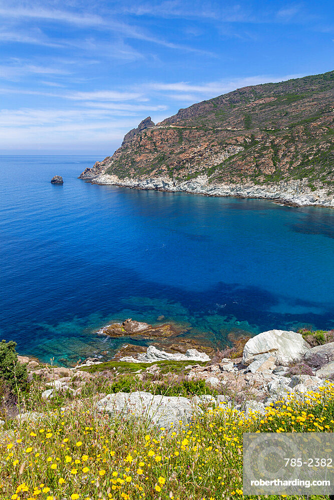 The rugged coastline of Cap Corse, the most northerly point of Corsica