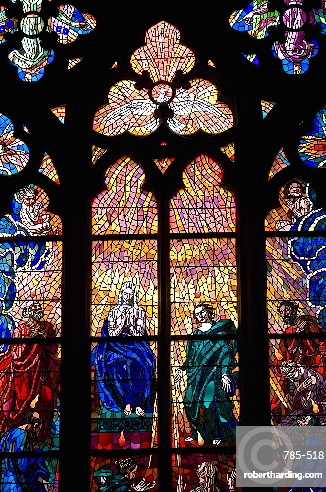 Stained glass window, St, Vitus's Cathedral, UNESCO World Heritage Site, Prague, Czech Republic, Europe