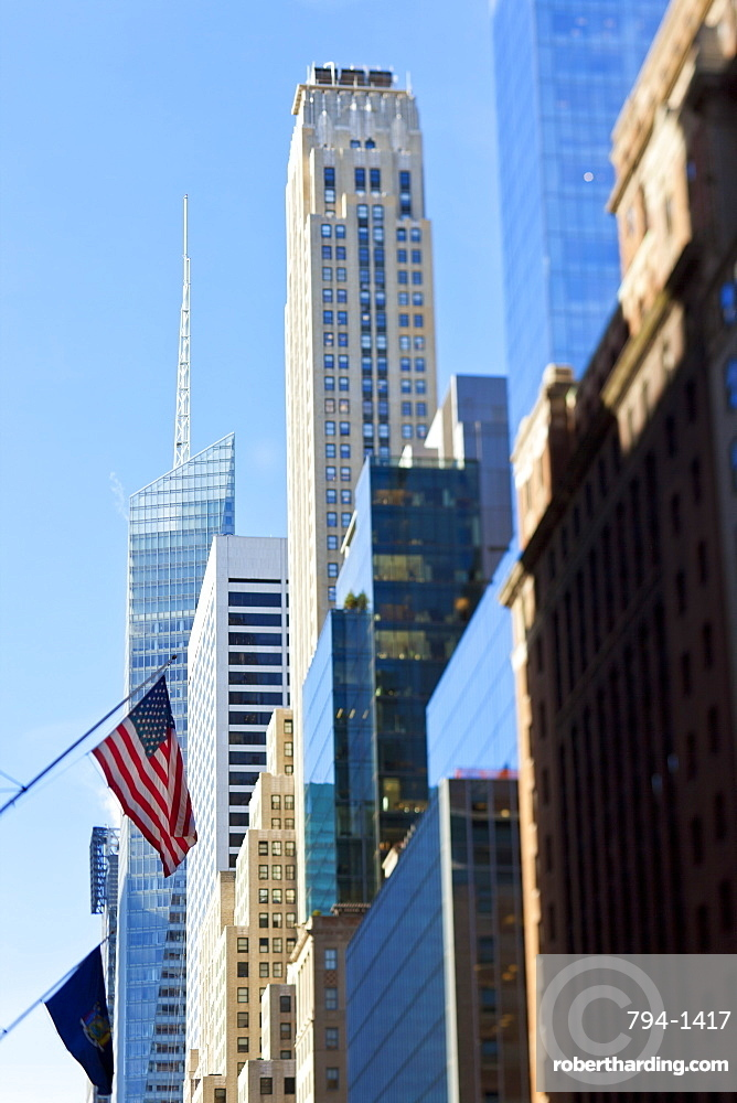 Modern architecture of buildings along 42nd Street in Mid Town Manhattan, New York City, New York, United States of America, North America
