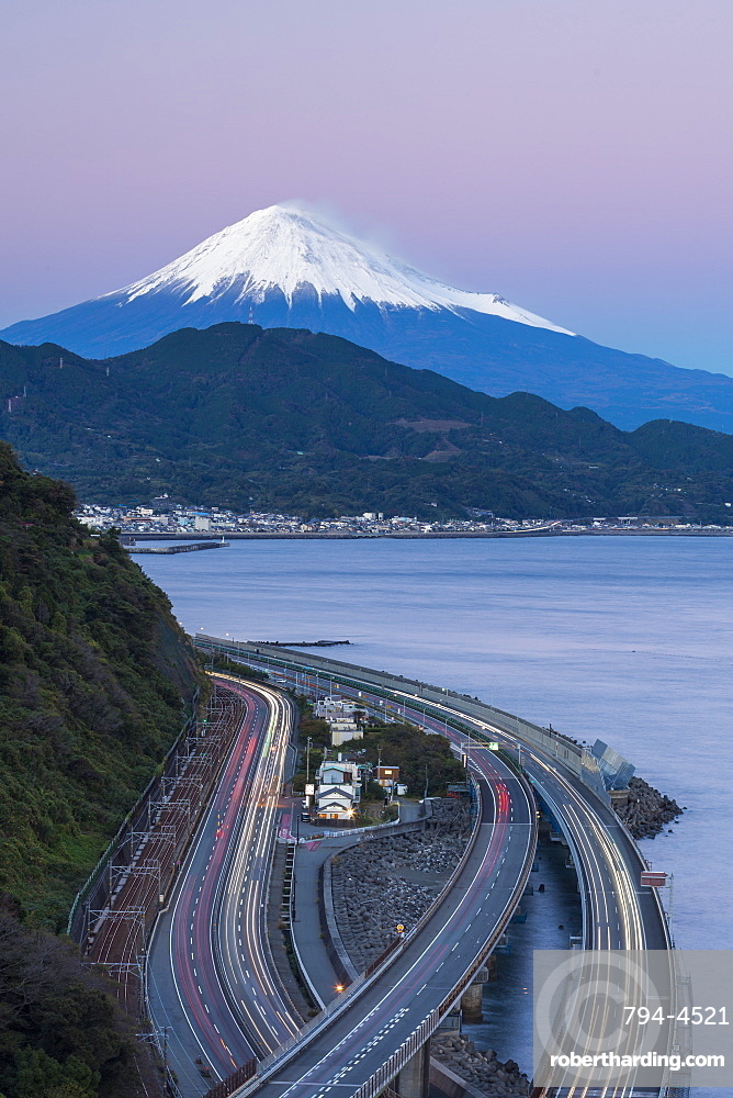 Mount Fuji and traffic driving on the Tomei Expressway, Shizuoka, Honshu, Japan, Asia
