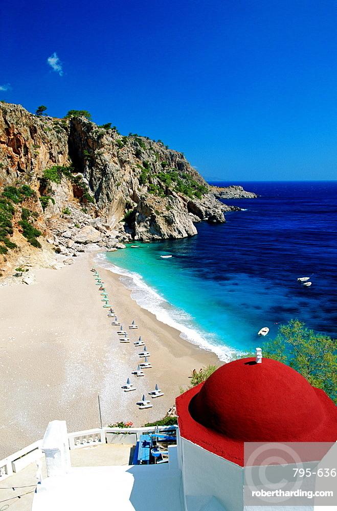 Church overlooking Kira-Panagia Bay, Karpathos Island, Dodecanese Islands, Greek Islands, Greece, Europe