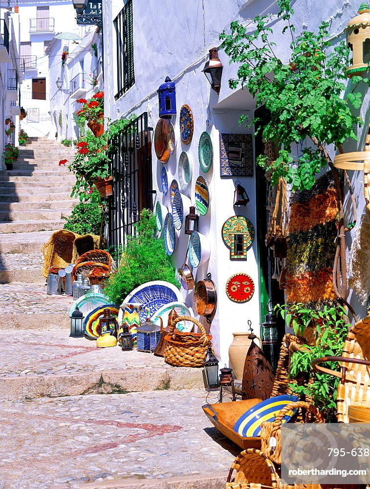 Pathway in village, Frigiliana, Andalusia, Costa del Sol, Spain, Mediterranean, Europe