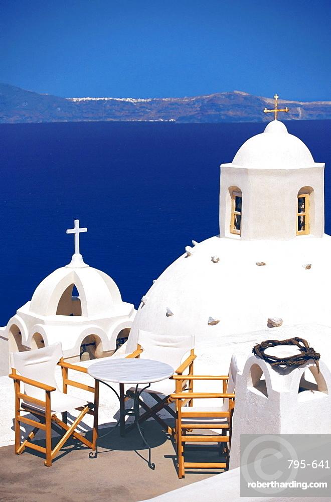 Church overlooking sea, Santorini, Cyclades, Greek Islands, Greece, Europe