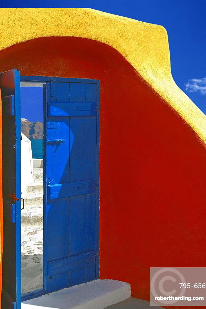 Colorful door in Oia, Santorini island, Cyclades, Greek Islands, Greece, Europe
