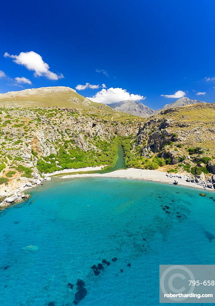 Aerial photo by drone of Preveli beach, Retymno, Crete Island, Greek Islands, Greece, Europe