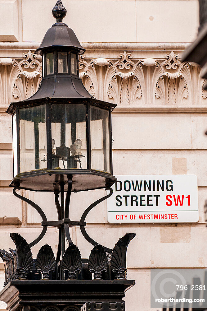 Downing Street sign, London, England, United Kingdom, Europe