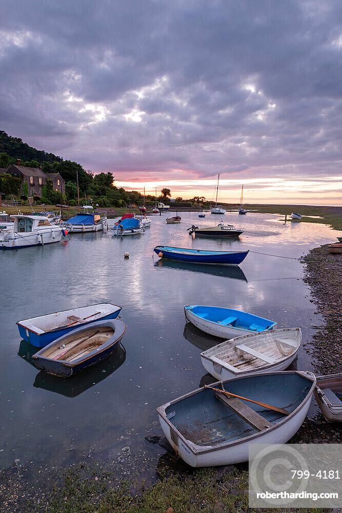 Boats in Porlock Weir harbour, Exmoor National Park, Somerset, England, United Kingdom, Europe