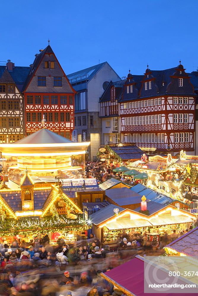 Frankfurt Christmas Market at dusk, Frankfurt am Main, Hesse, Germany, Europe