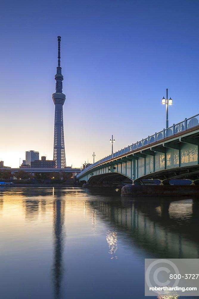 Sky Tree and Sumida River at dawn, Tokyo, Japan