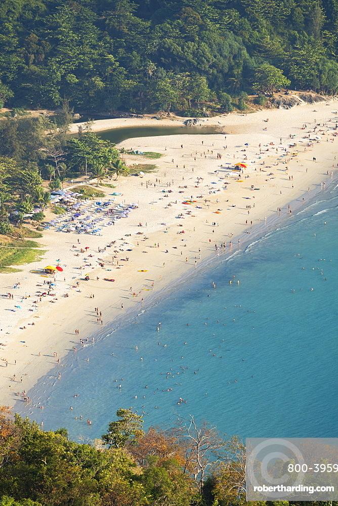 Elevated view of Hai Nan Beach, Phuket, Thailand, Southeast Asia, Asia
