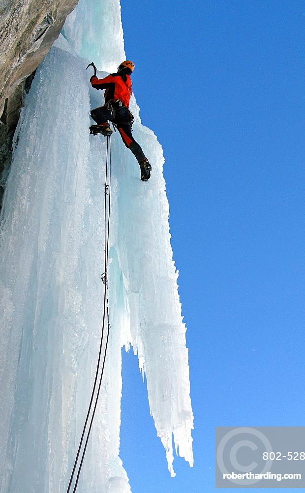 Ice climber, Chamonix, Haute Savoie, France, Europe