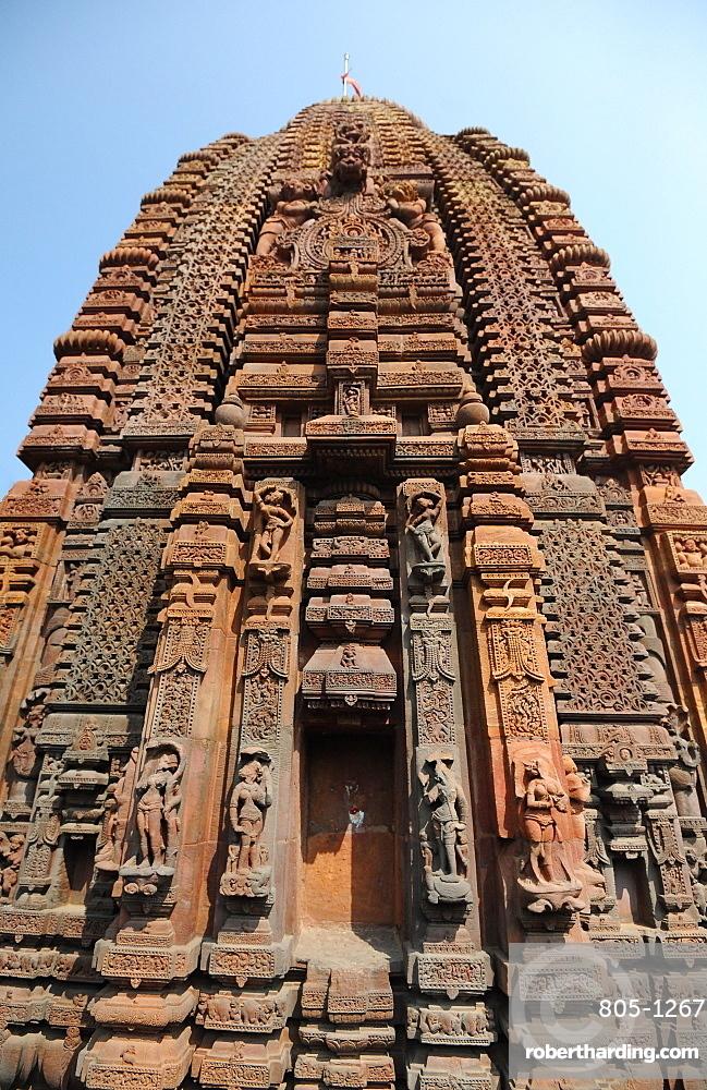 Carved stone Vimana in the 10th century Mukteswar Temple, dedicated to Lord Shiva, Bhubaneswar, Odisha, India, Asia