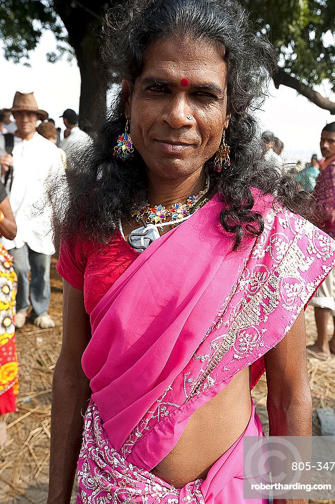 Launda dancer, a transsexual Bihari man dressed as a woman to dance at village weddings and fairs, Sonepur Cattle fair, Bihar, India, Asia