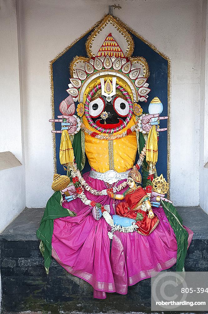 Hindu Jagannath deity shrine at the Jagannath temple, Koraput, Orissa, India, Asia