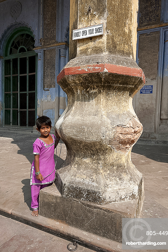 Young girl outside the mosque in the Hugli Imambara, on the west bank of the Hugli river, West Bengal, India, Asia