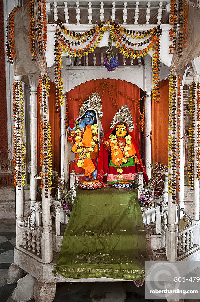 Hindu deities Lord Krishna and his consort Radha in the shrine at Lalji Mandir, Kalna, West Bengal, India, Asia