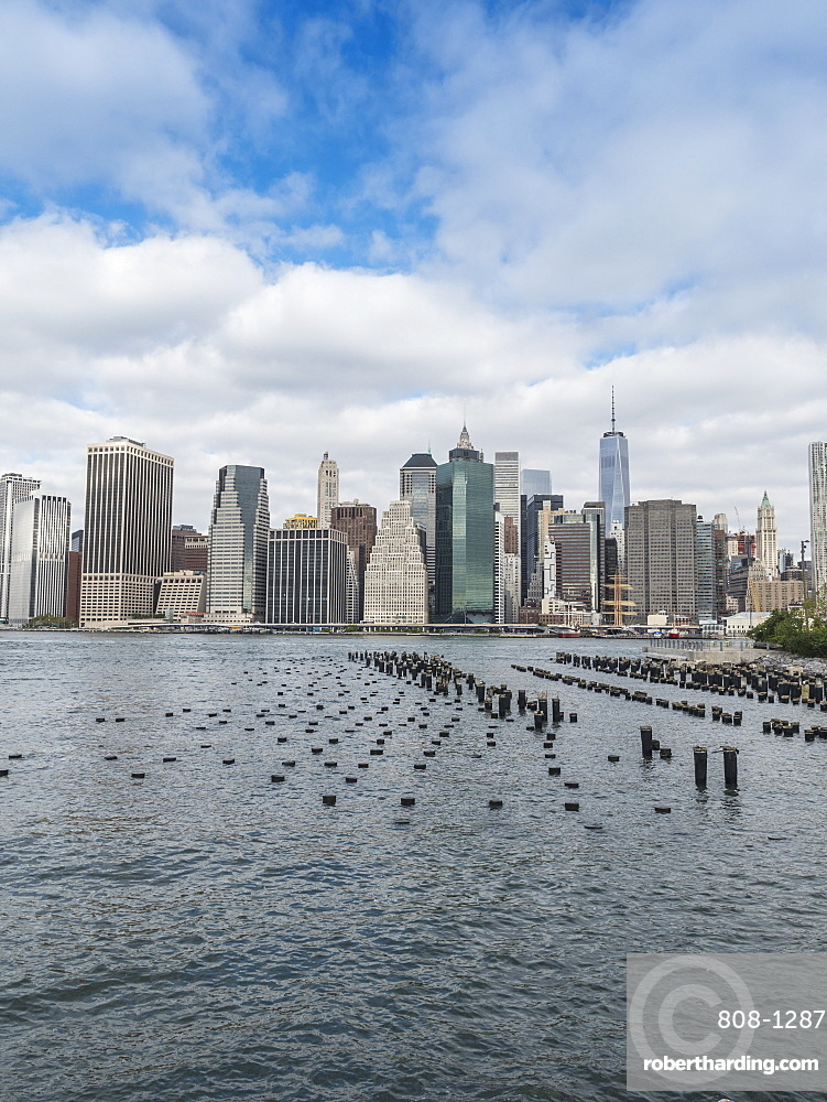 Lower Manhattan financial district skyline and East River, New York City, New York, United States of America, North America