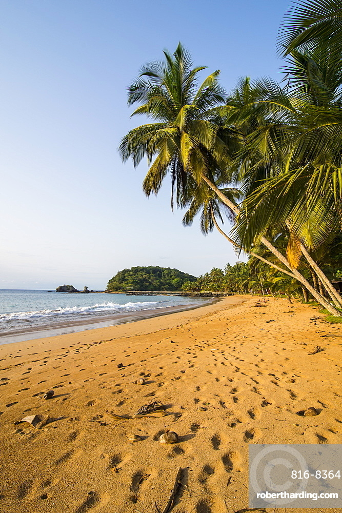 Beautiful beach in the Bom Bom Resort, UNESCO Biosphere Reserve, Principe, Sao Tome and Principe, Atlantic Ocean, Africa