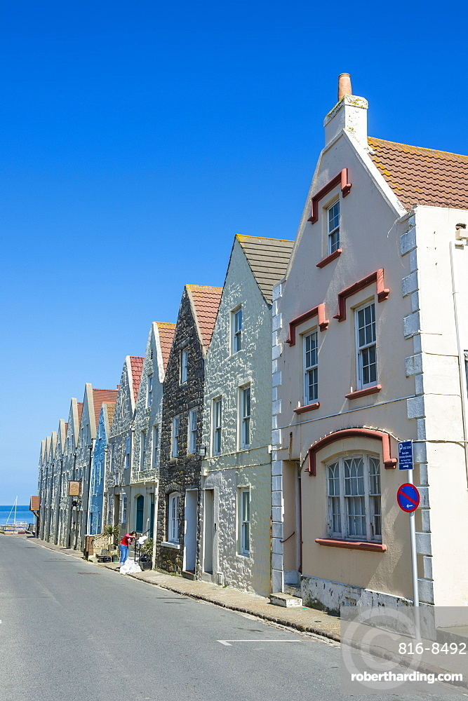 Renovated houses formerly the docks in Braye, Alderney, Channel Islands, United Kingdom, Europe