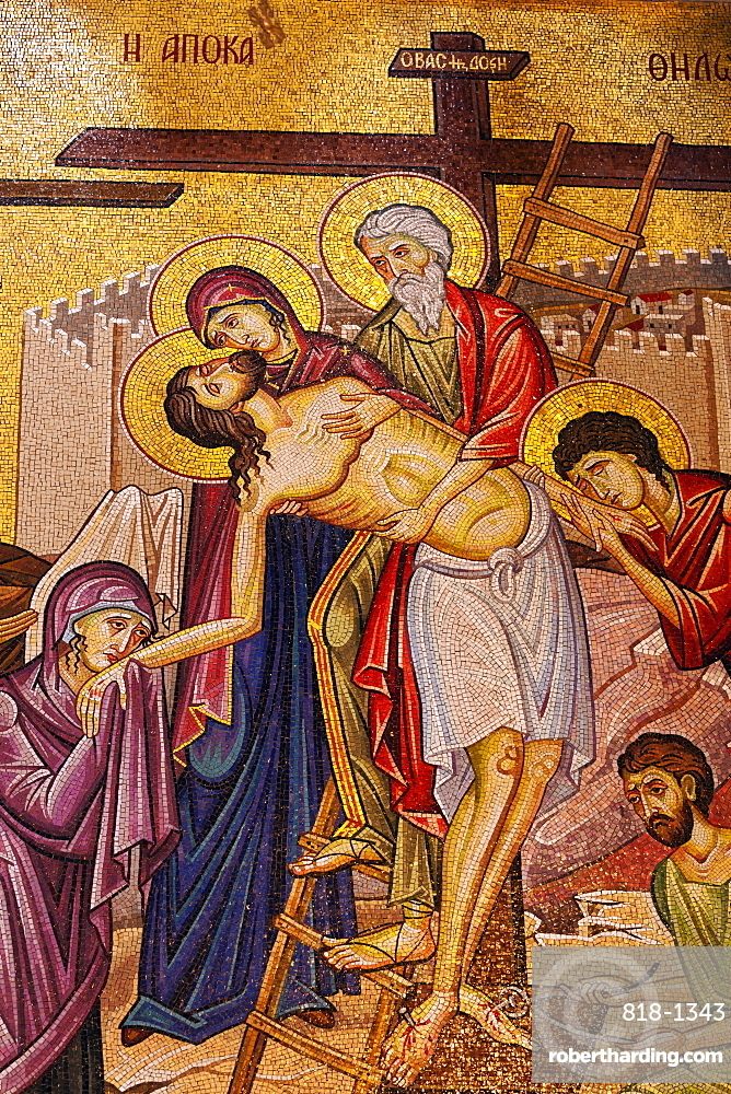 Mosaic artwork of Christ and the Cross, Church of the Holy Sepulchre, Jerusalem, Israel, Middle East