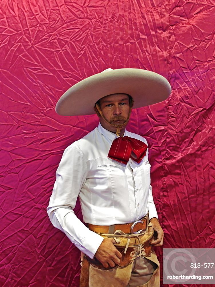 Portrait of Mexican charras (cowboy), Guadalajara, Jalisco, Mexico, North America