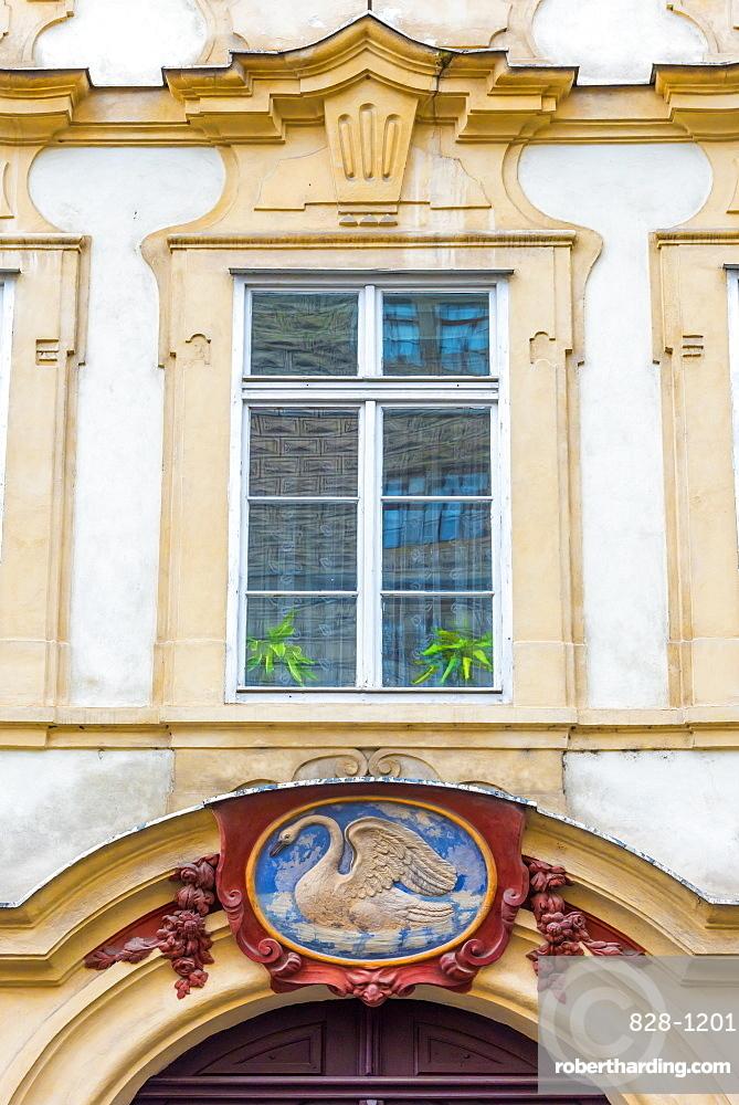 White Swan house sign, Number 49, Nerudova, Mala Strana, Prague, Czech Republic, Europe