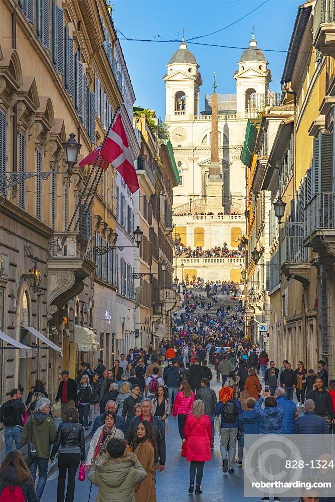 Via dei Condotti, Piazza di Spagna, Spanish Steps, Scalinata di Trinita dei Monti (Trinita dei Monti Church), Rome, Lazio, Italy, Europe