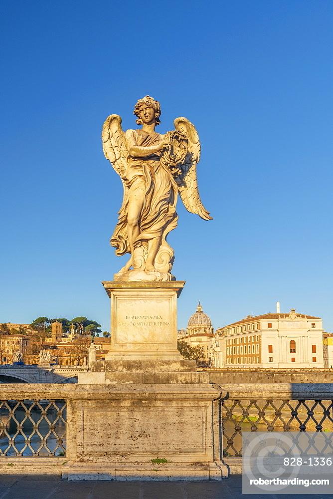 Ponte Sant'Angelo, St. Peter's Basilica in background, UNESCO World Heritage Site, Rome, Lazio, Italy, Europe