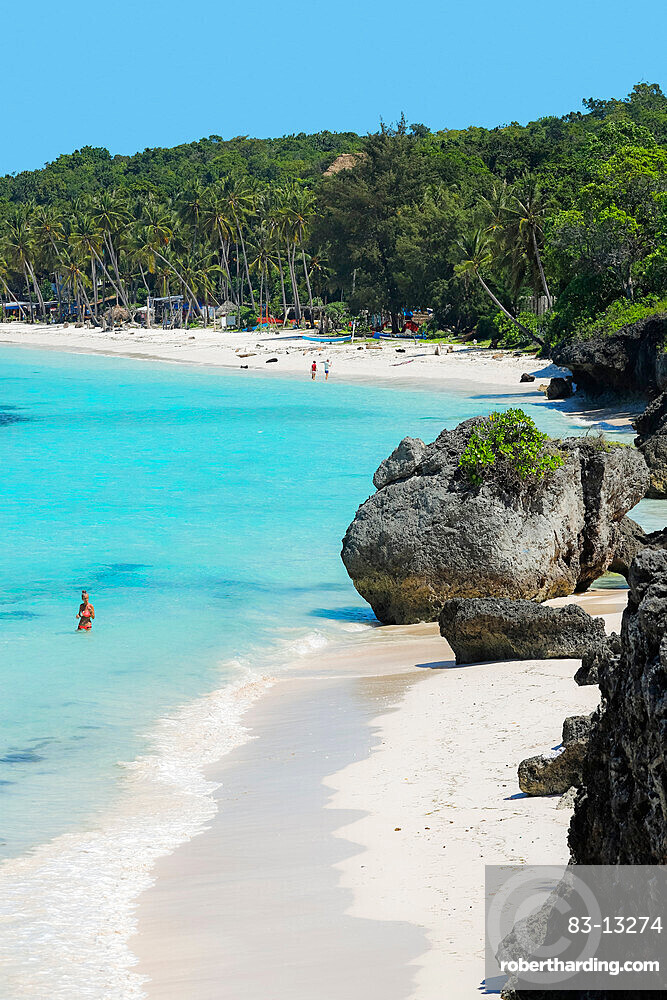 Fine white sand on Bira Beach at this resort town in the far South, 190km from Makassar, Tanjung Bira, South Sulawesi, Indonesia, Southeast Asia, Asia