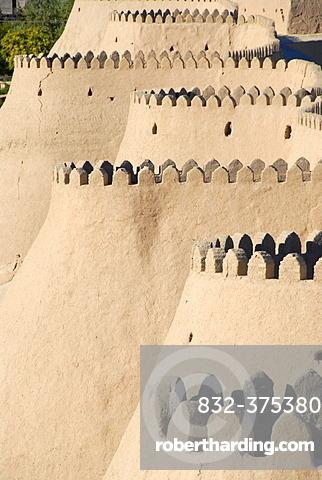 Battlement at the curved bastions of the city wall Ko\'xna Ark Itchan Kala Khiva Uzbekistan
