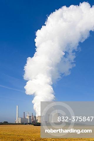 Kraftwerk Neurath power plant with a huge cloud of steam, Grevenbroich, North Rhine-Westphalia, Germany, Europe