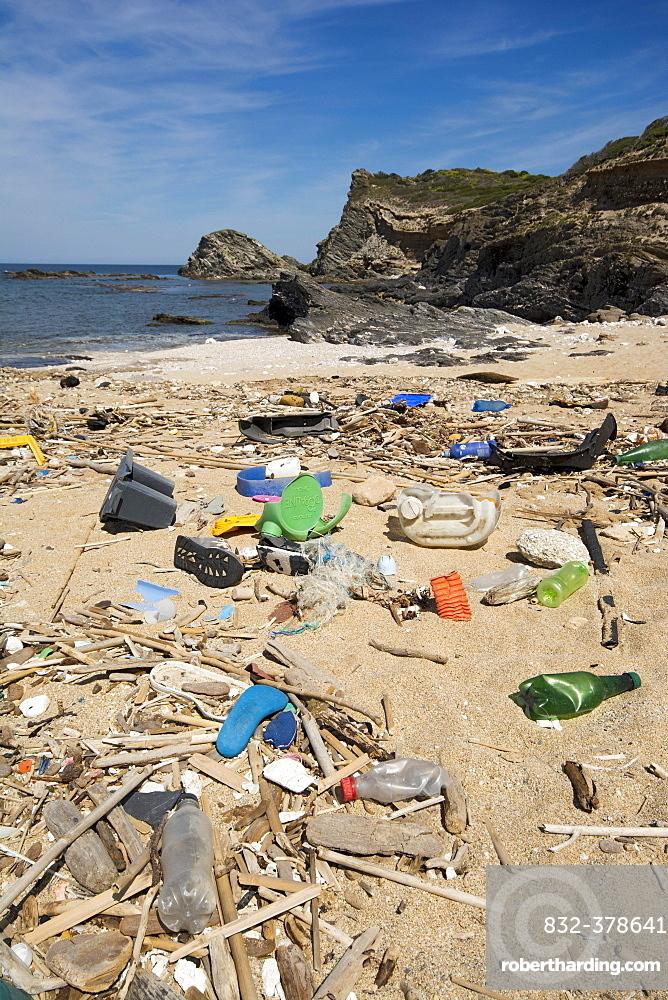 Garbage on the beach, Sardinia, Italy, Europe
