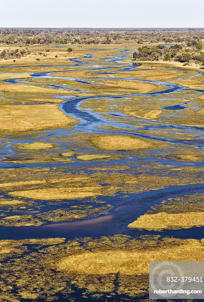 The Gomoti River with its channels, islands and adjoining freshwater marshland, aerial view, Okavango Delta, Botswana, Africa