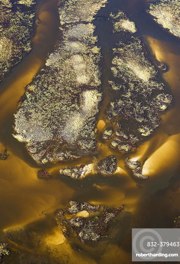 The Gomoti River with its labyrinthine channels, islands and sandbanks, aerial view, Okavango Delta, Botswana, Africa
