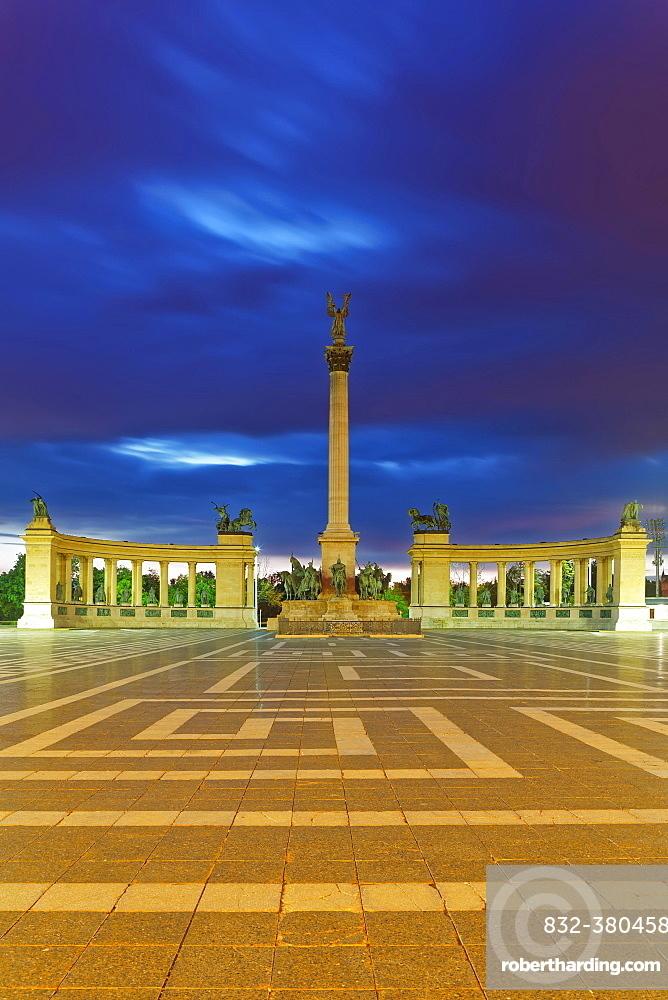 Millennium Monument at Heroes' Square, Dusk, Budapest, Hungary, Europe