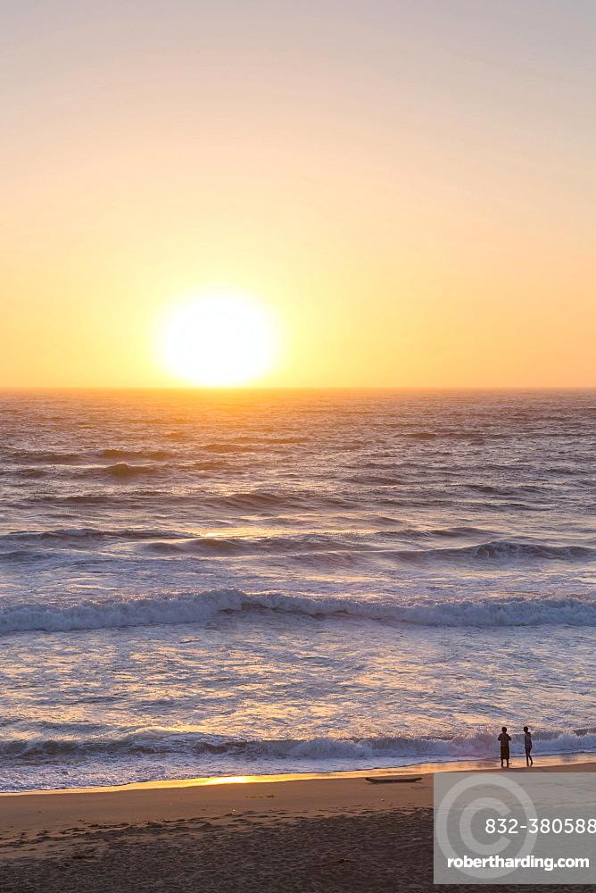 Sunset, children on the beach, Pacific Coast, Pacific Coast Highway, California, USA, North America