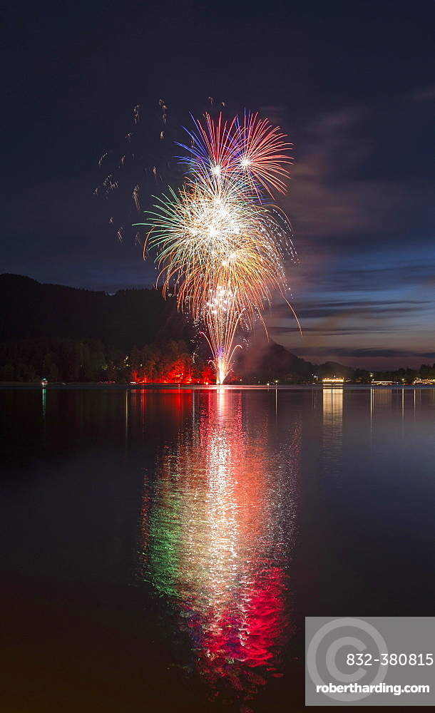 Fireworks at Lake Schliersee, reflection, Upper Bavaria, Bavaria, Germany, Europe
