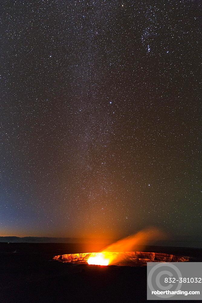 Milky Way above Halema'uma'u crater eruption, Kilauea volcano, Hawai'i Volcanoes National Park, Big Island of Hawai'i, USA, North America