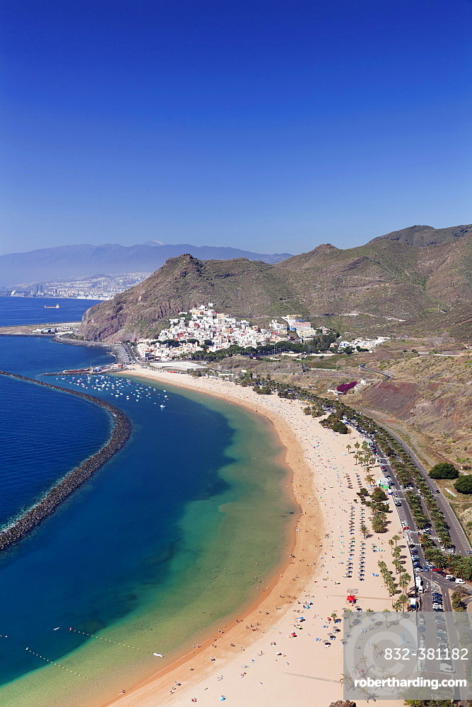 Beach Playa de las Teresitas, San Andres, behind Santa Cruz, Tenerife, Canary Islands, Spain, Europe