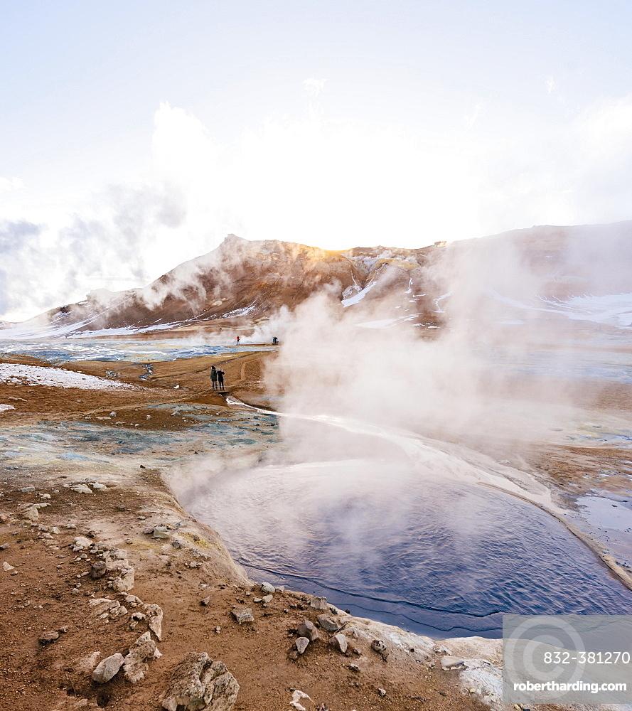 Steaming hot springs, geothermal area Hverarönd, also Hverir or Namaskard, Northern Iceland, Iceland, Europe