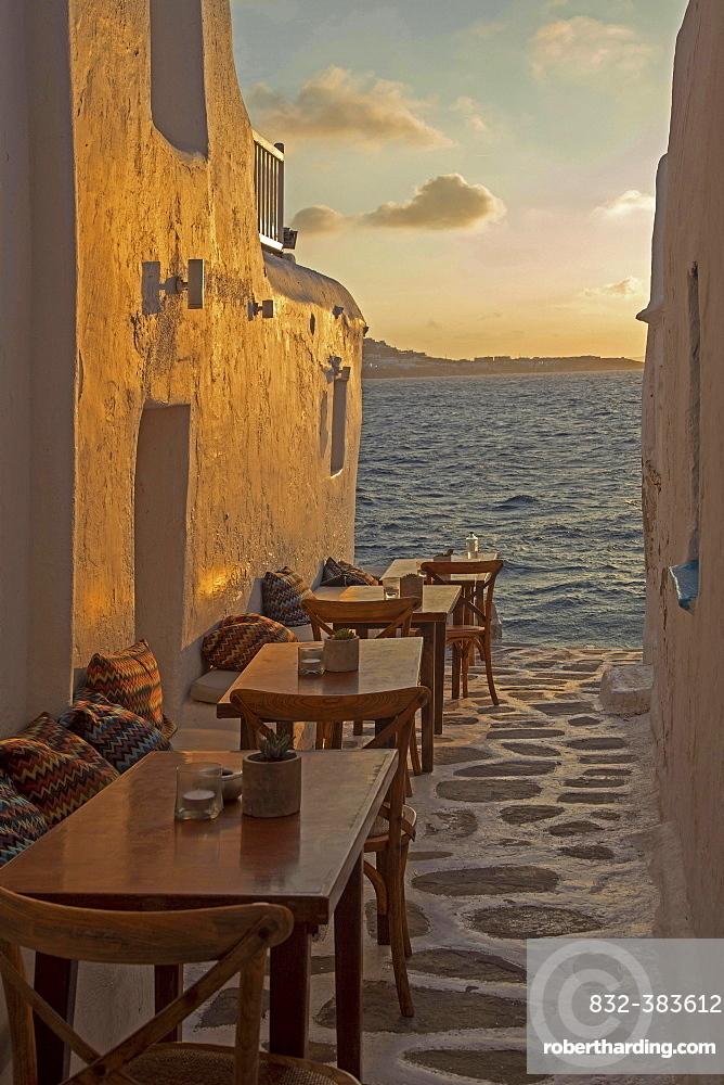 Kastro's Restaurant at sunset, Little Venice, Mykonos Island, Cyclades, Mykonos City, Chora, Greece, Europe