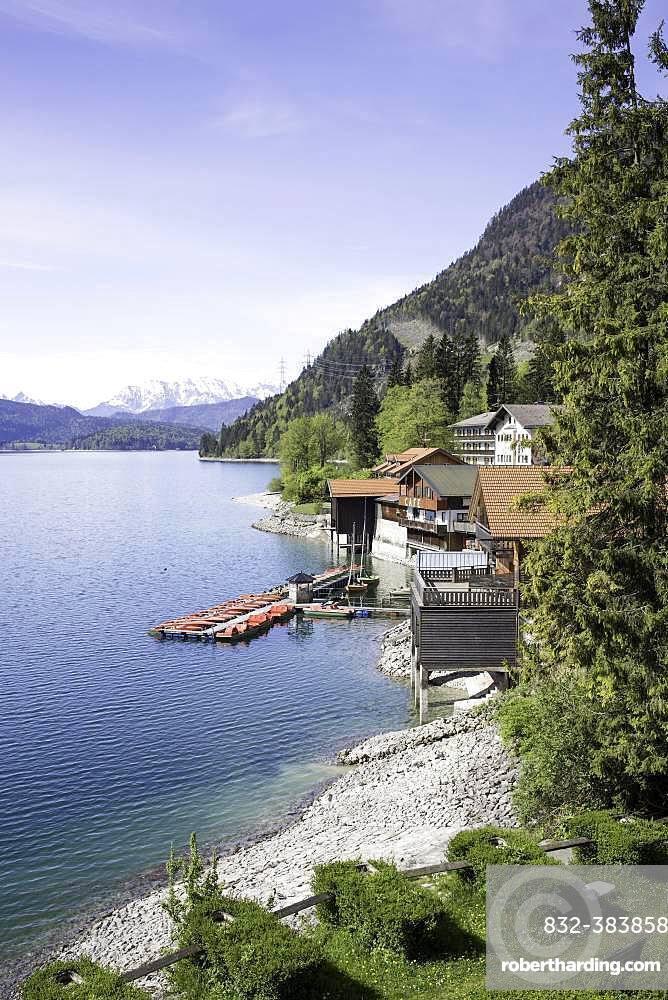 Townscape, Walchensee, Upper Bavaria, Bavaria, Germany, Europe