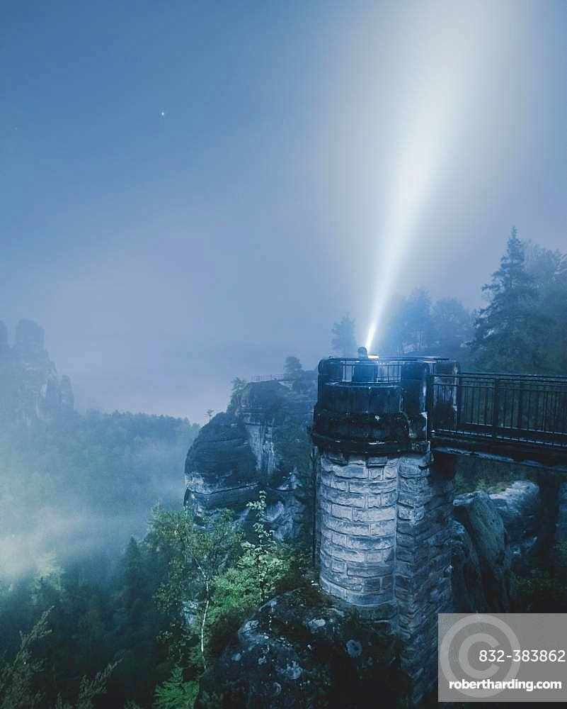 Bastion view at night, Elbe Sandstone Mountains, Saxon Switzerland, Germany, Europe